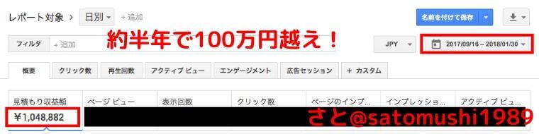約半年で100万円越え