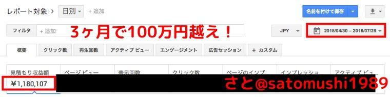 3ヶ月で100万円越え