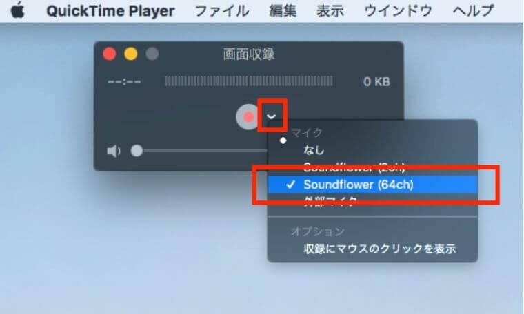 QuickTime Playerの録画時の設定